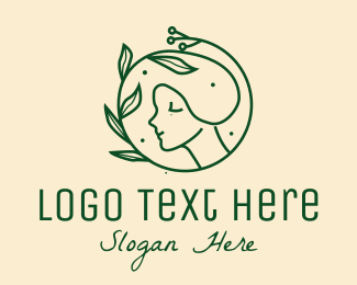 Leaf - Green Peaceful Nature Lady  logo design