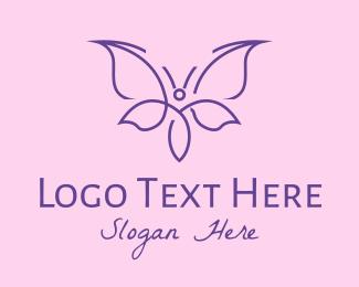 Wellness Center - Purple Monoline Butterfly logo design