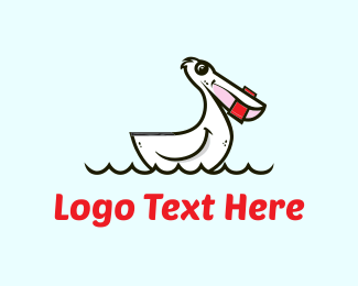 Sail - White Pelican Cartoon logo design