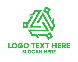 Programing - Tech Green Monogram logo design