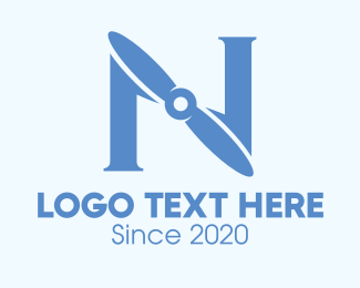 Turbo - Blue Propeller Letter N logo design