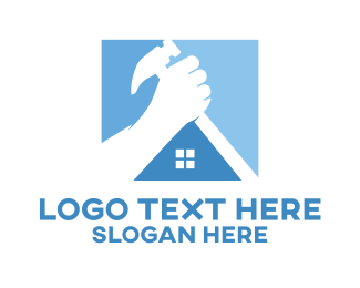 Renovation - Blue House Roof Hammer logo design