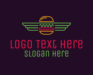 Wings - Neon Burger Wings logo design