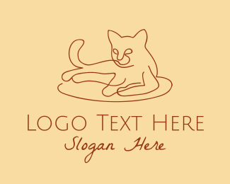 Cat Grooming - Cat Kitten Monoline  logo design