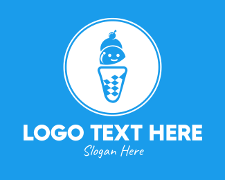 Cone - Blue Ice Cream Shop logo design