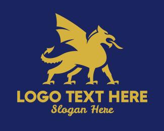 Gargoyle - Gold Griffin Creature  logo design