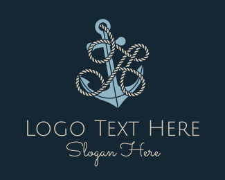 A - Anchor Rope Letter A logo design