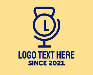 Physical Trainer - Kettlebell Atlas Lettermark logo design