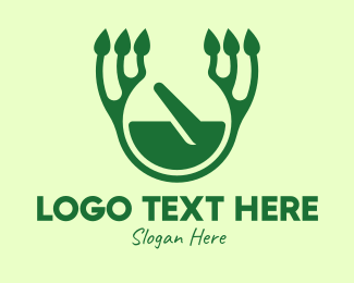 Traditional Medicine - Green Herbal Healing logo design