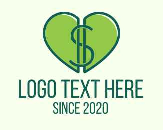 Wealth - Green Money Heart logo design