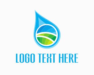 Dairy - Field Water Drop logo design