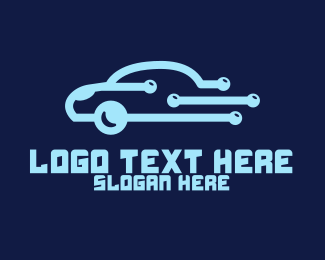 Automotive - Digital Blue Car logo design