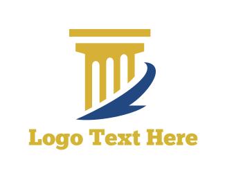 Attorney And Legal Golden Column logo design