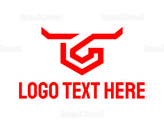 Bull Fight - Abstract Bull Hook logo design