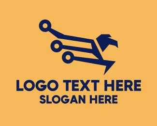 Online Shopping - Modern Online Eagle logo design