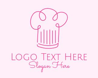 Simplistic - Minimalist Pink Chef Hat  logo design
