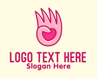 Handwashing - Pink Loving Hand logo design