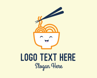 Chinese Food - Happy Bowl Noodles logo design