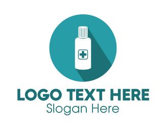 Disinfecting - Blue Medicine Bottle logo design