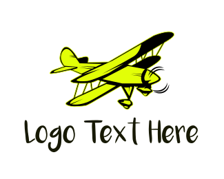Flight School - Yellow Vintage Airplane logo design