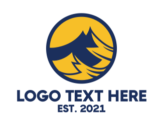 Hiking - Yellow Blue Mountain Badge logo design