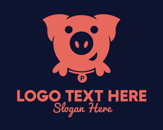 Piggy Bank - Pink Round Pig logo design
