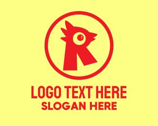 Barbecue - Letter R Chicken Emblem logo design