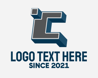 Blocky - 3D Graffiti Letter C  logo design