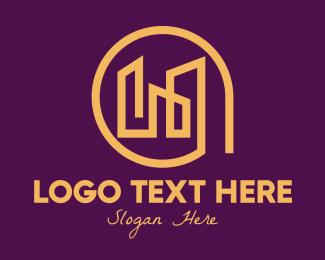 Real Estate Agent - Golden Elegant Real Estate Buildings logo design