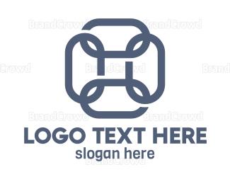 Chain - Blue Square Chain logo design