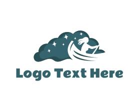 Night - Night Rowboat Boat logo design