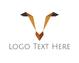 Reindeer - Origami Deer Face logo design