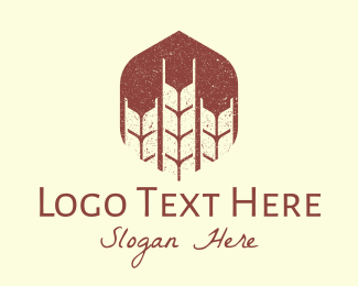 Rice Field - Rustic Wheat Grains logo design