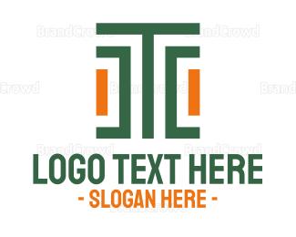Ancestor - Modern Stroke Pattern Letter T logo design