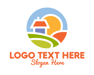 Farmland - Sunrise House Badge logo design