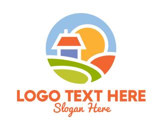 Lodge - Sunrise House Badge logo design
