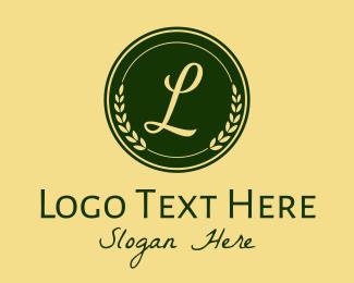 Letter - Green Wreath Emblem  logo design