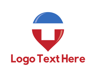 Letter Mark - Letter T Pin logo design