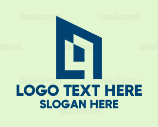Dynamic - Blue Abstract House  logo design