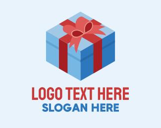 Gift Wrapper - Isometric 3D Gift Present logo design