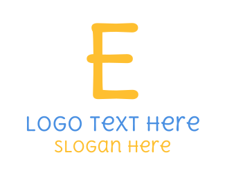 School - Handwritten Yellow Letter E logo design