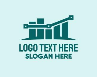 Blue Green - Modern Tech Statistics logo design