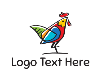Butcher - Colorful Rooster logo design