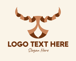 Animal - Brown Ribbon Bull logo design