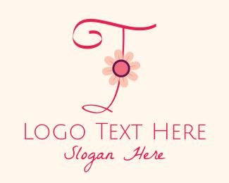 Calligraphy - Pink Flower Letter I logo design