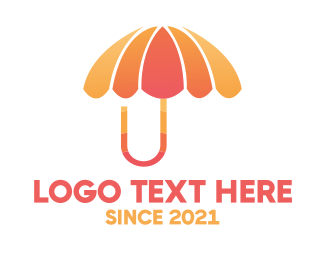 Weather - Orange & Pink Umbrella logo design