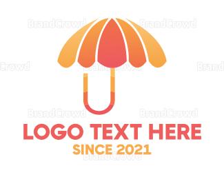 Umbrella - Orange & Pink Umbrella logo design