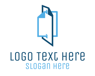 Document - Blue File Documents logo design