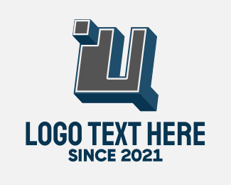 Blocky - 3D Graffiti Letter U logo design
