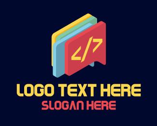 Social Media - Code Chat Bubble logo design